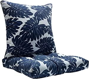 FBTS Prime Outdoor Chair Cushion and Outdoor Pillow Navy 20x20 Inch Patio Decorative Set for Outdoor Patio Indoor Furniture Garden Home Office