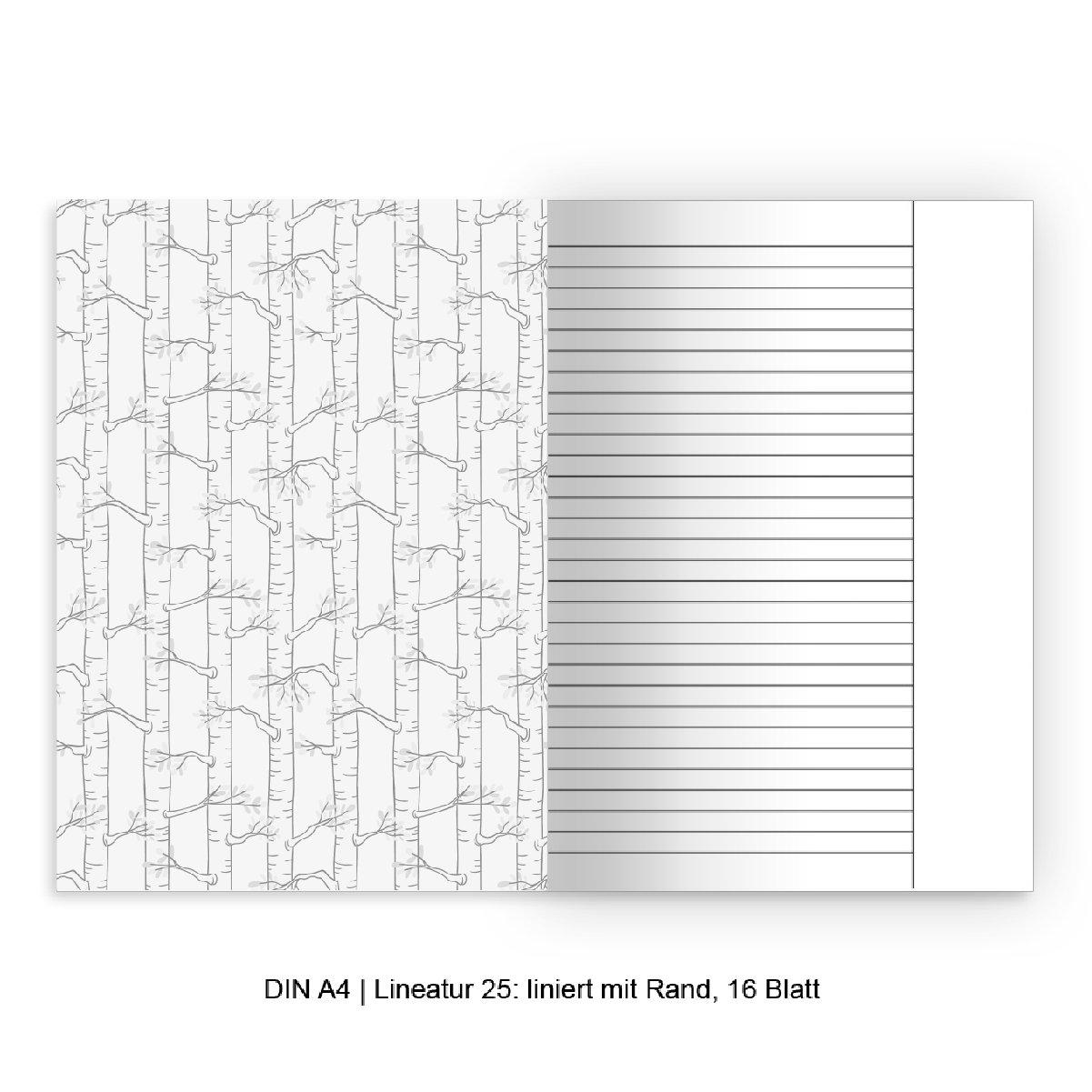 Schreibhefte mit bunten Eulen auf beige Lineatur 25 Kartenkaufrausch 2 personalisierte liniertes Heft S/ü/ße DIN A4 Schulhefte