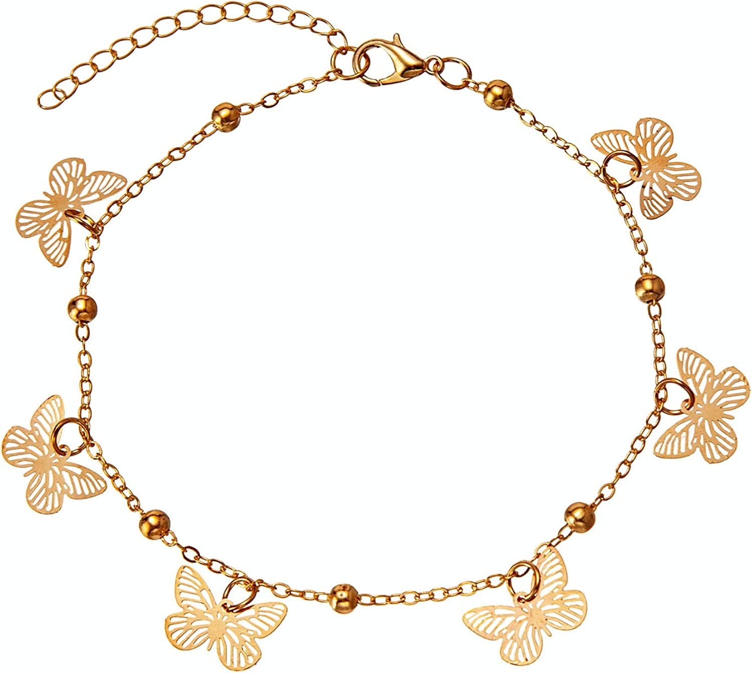 kelistom Butterfly Anklet for Women Teen Girls Gold/Silver Plated Link Chain Ankle Bracelet with Extension