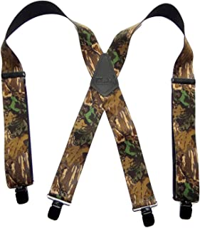 product image for HoldUp Suspender Company Outdoorsmen Series Breakup Camouflage Pattern X-Back Suspenders with Patented Patented No-slip Clips