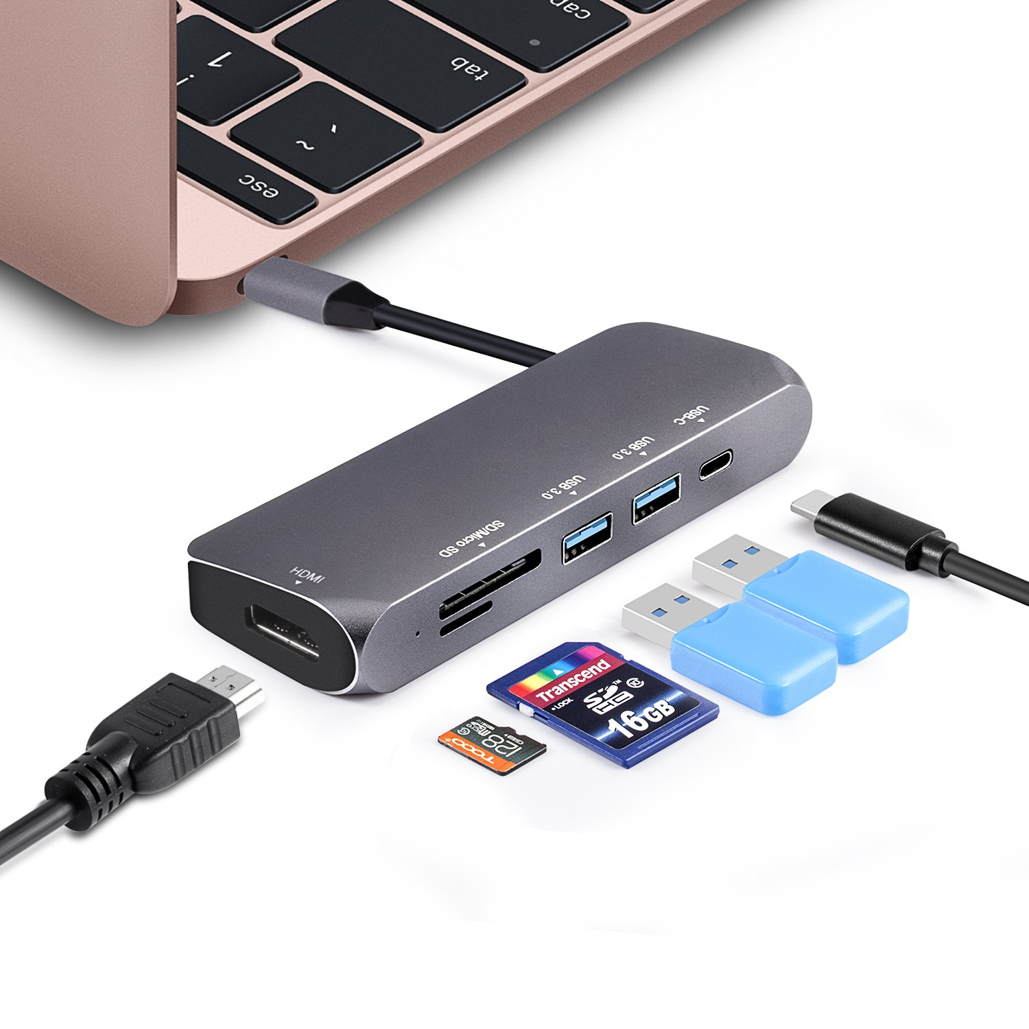 USB-C to HDMI HUB, 3XI USB-C to HDMI 4K Aluminium HUB with 2 USB 3.0 Ports and SD/TF Card Readers support Power Delivery for MacBook Pro and More USB C Devices -Space Gray