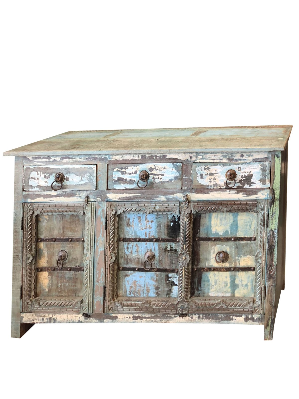 Mogul Interior Antique Sideboard Solid Wood Console Rustic Distressed Blue Chest Buffet Cabinet Furniture Farmhouse Chic by Mogul Interior (Image #1)