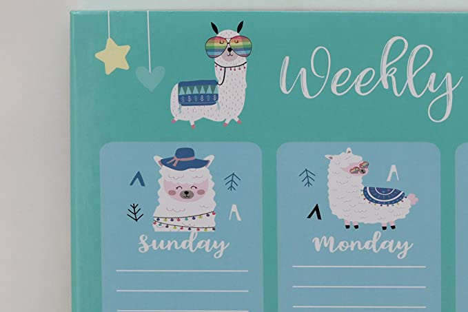Weekly Planning Board Calendar Wall Mounted Organizer Planner With Llama Design For Kids 1 Marker And 2 Magnets Office Products