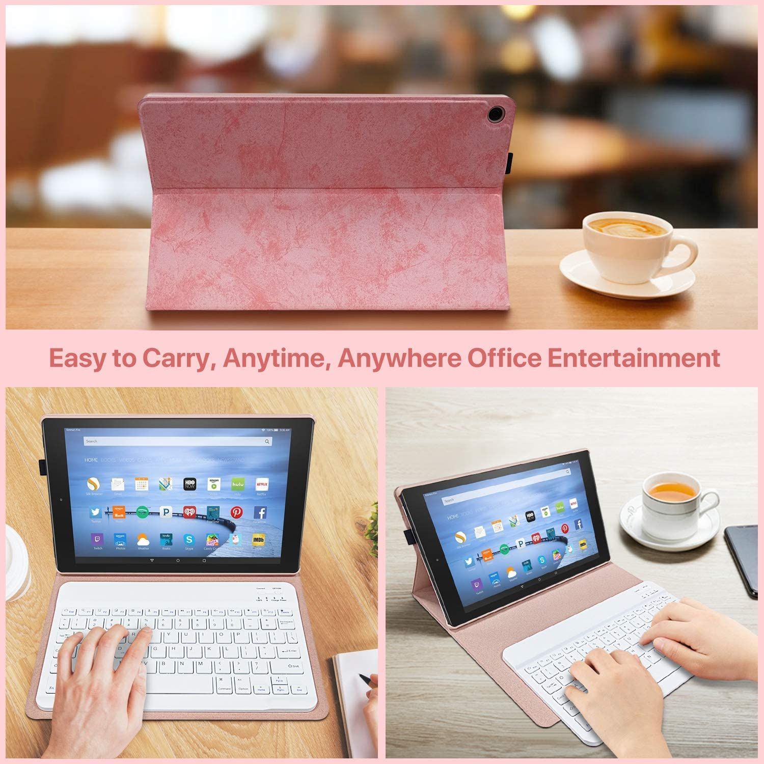 9th Genertion 2019 Release,7th Generation 2017 Release Detachable Wireless Bluetooth Keyboard Case for All-New  Fire HD 10.1 Inch Keyboard Case for Fire HD 10 Tablet