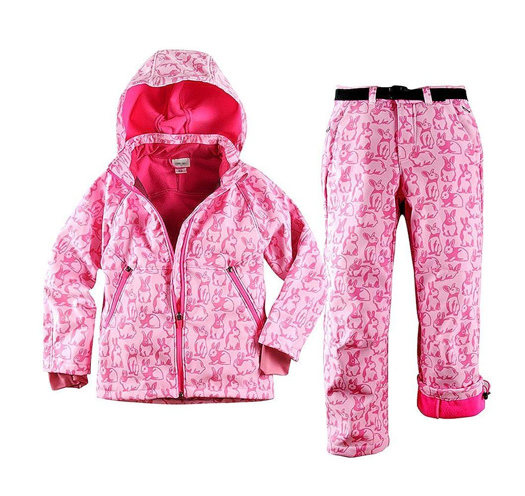 Tortor 1bacha Kid Girls' Rabbit Print Snowsuit Ski Hooded Jacket Snow Pants Set ZRJ1087TZ-PK