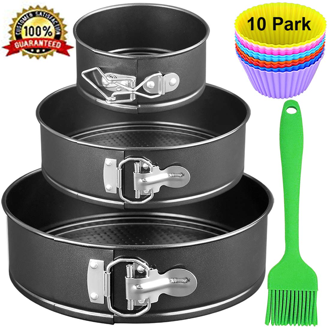 Springform Cheesecake Pan Set of 3, 4 7 9 inch Non-stick and Leak-proof Cake Bakeware with Removable Bottom & Quick-Release Latch-Black