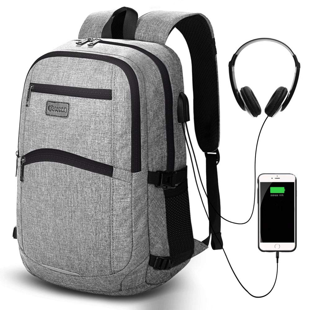 0fc6f8dc8c3 Laptop Backpack, Business Work Casual Daypack with USB Charging Earphone  Port, 15.6-inch Slim Lightweight College High School Bag Computer Rucksack  for ...