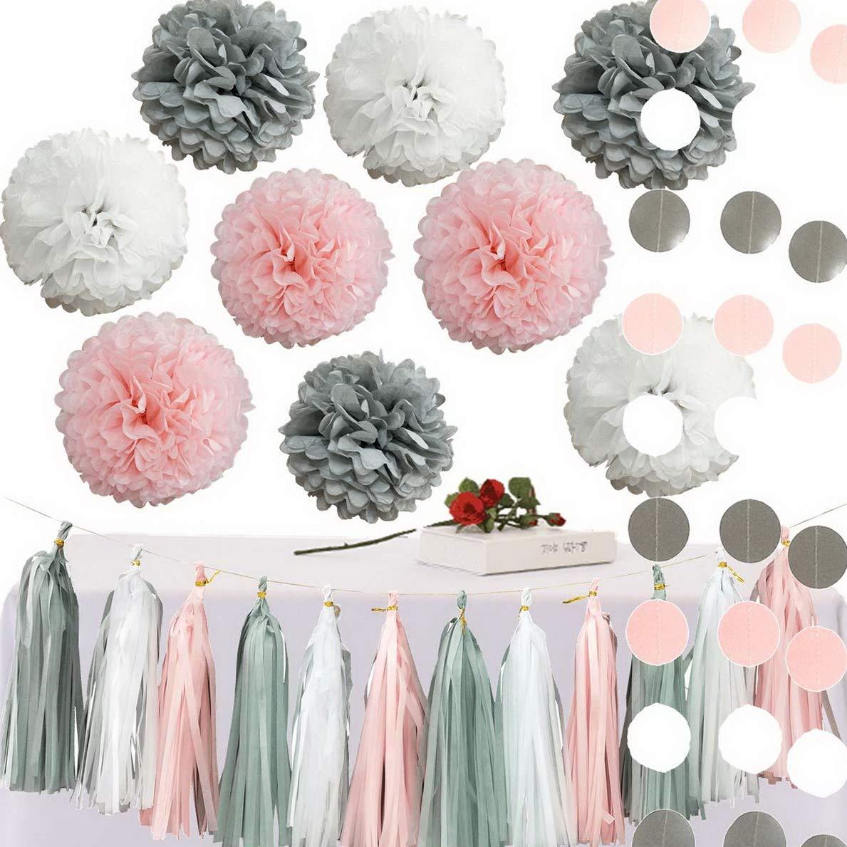 Mikash 23pcs Pink Gray White Shower Birthday Wedding Tissue Paper Pom Pom Party Tion Kit - 12'' 10'' 8'' | 12inch 10inch 8inch | Model WDDNG - 2407