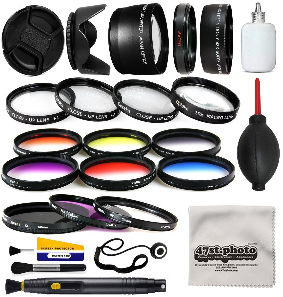 58mm Professional Lens +Filter Kit for DSLR Cameras featuring HD 0.43x Wide Lens + HD 2.2x Tele Lens + 13 Pcs HD filter package + more for Canon Rebel SL1 SL2 T5 T5i T6 T6I T7 T7i Digital SLR Cameras by 47th Street Photo