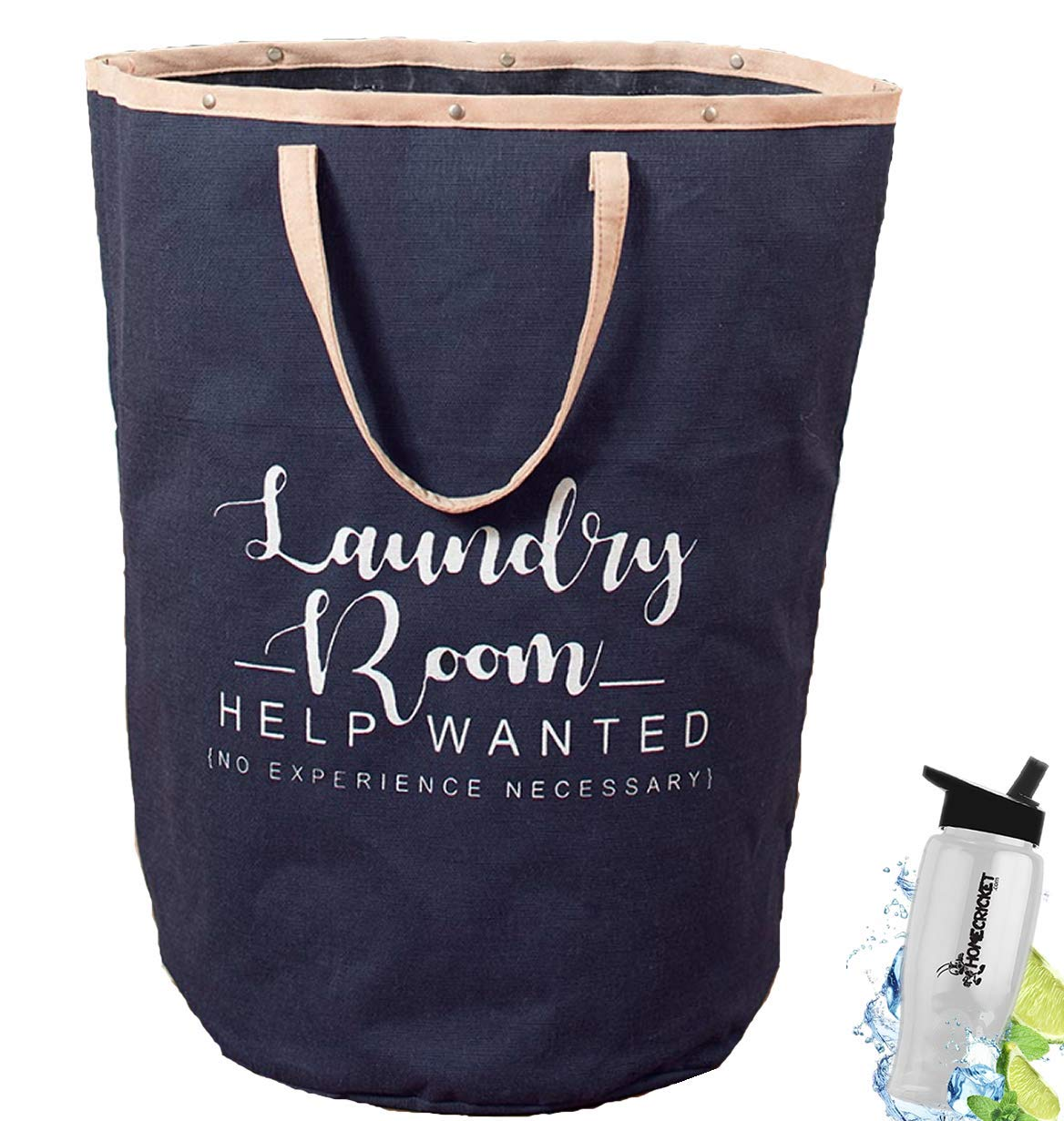 Gift Included- Jumbo Large Laundry Tote Bag With Handles For Laundry Room or Storage Navy + FREE Bonus Water Bottle by Home Cricket