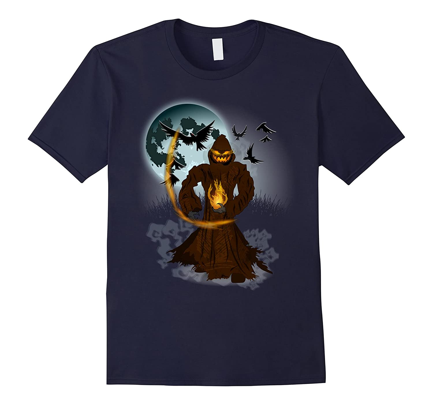 Halloween Pumpkin Jack o Lantern Full Moon and Crows Shirt-TJ