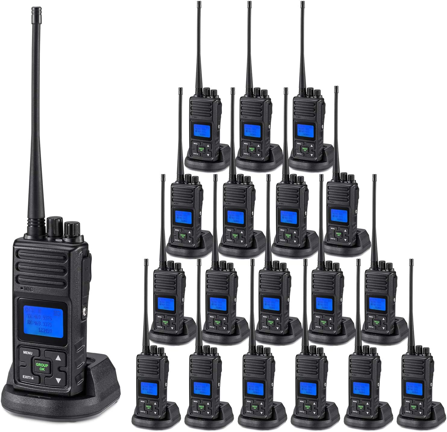 SAMCOM 5 Watts Two Way Radio Long Range Handheld UHF Business Ham Radio for Adult Programmable Walkie Talkie with Rechargeable 1500mAh Battery LCD Display Charging Docks Earpieces (19 Packs)