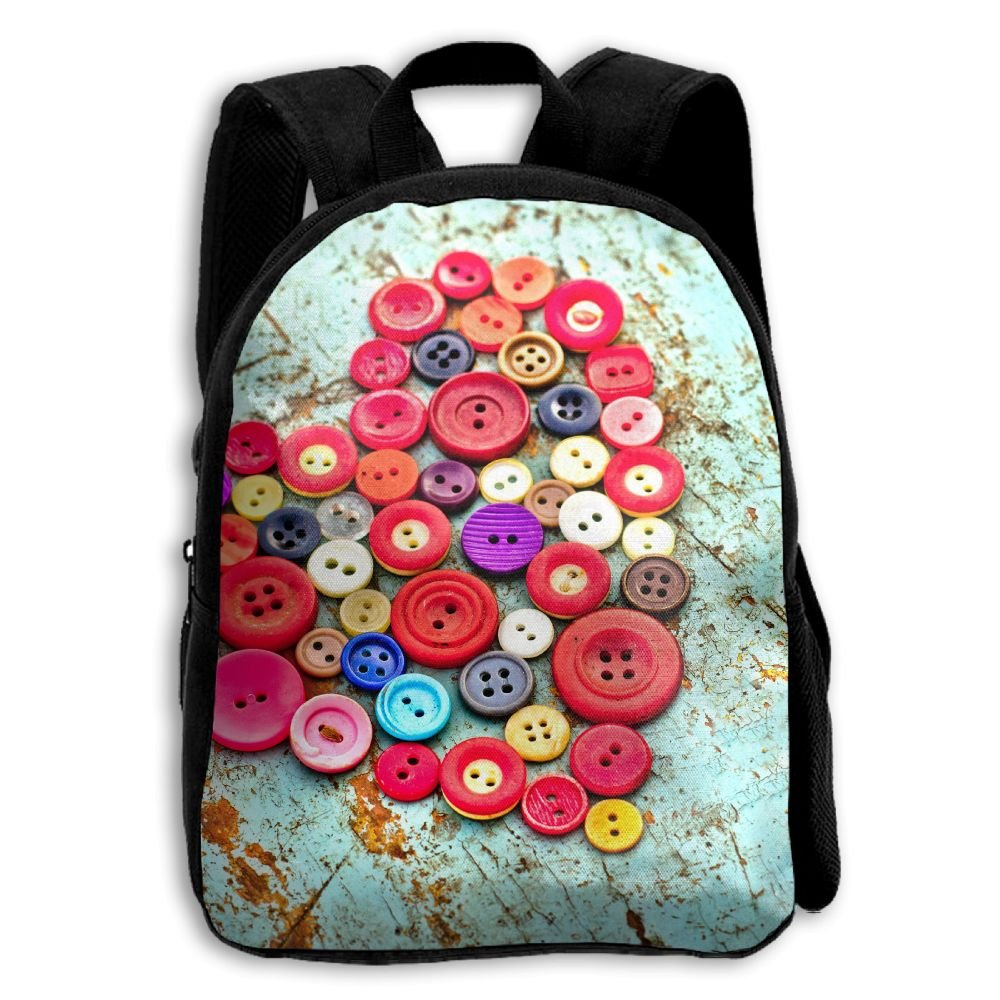 Heart Made Of Buttons On Old Wood 3D Children Multi-function Mini Bag Pocket Zipper Casual Outdoor Travel Book Middle School Backpack