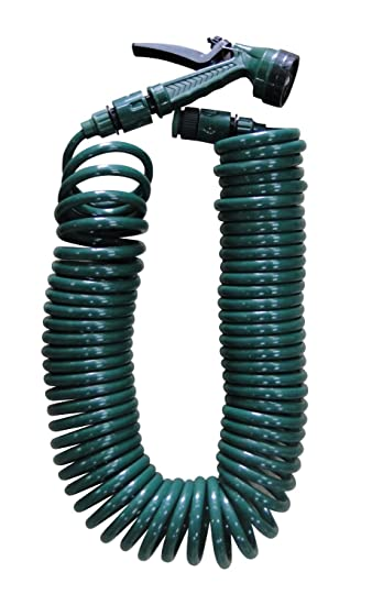 50FT15M SPIRAL COIL GARDEN HOSE PIPE WITH ADJUSTABLE SPRAY GUN