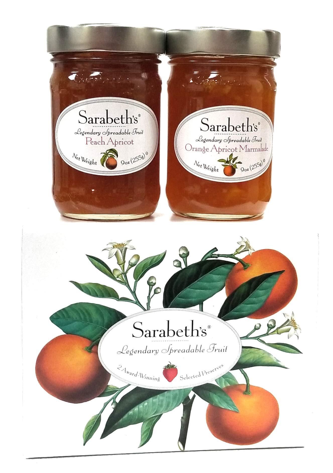 Sarabeth's Two Jar Gift Box Set - Two 9 oz. jars - Peach Apricot & Orange Apricot Marmalade by Sarabeth's