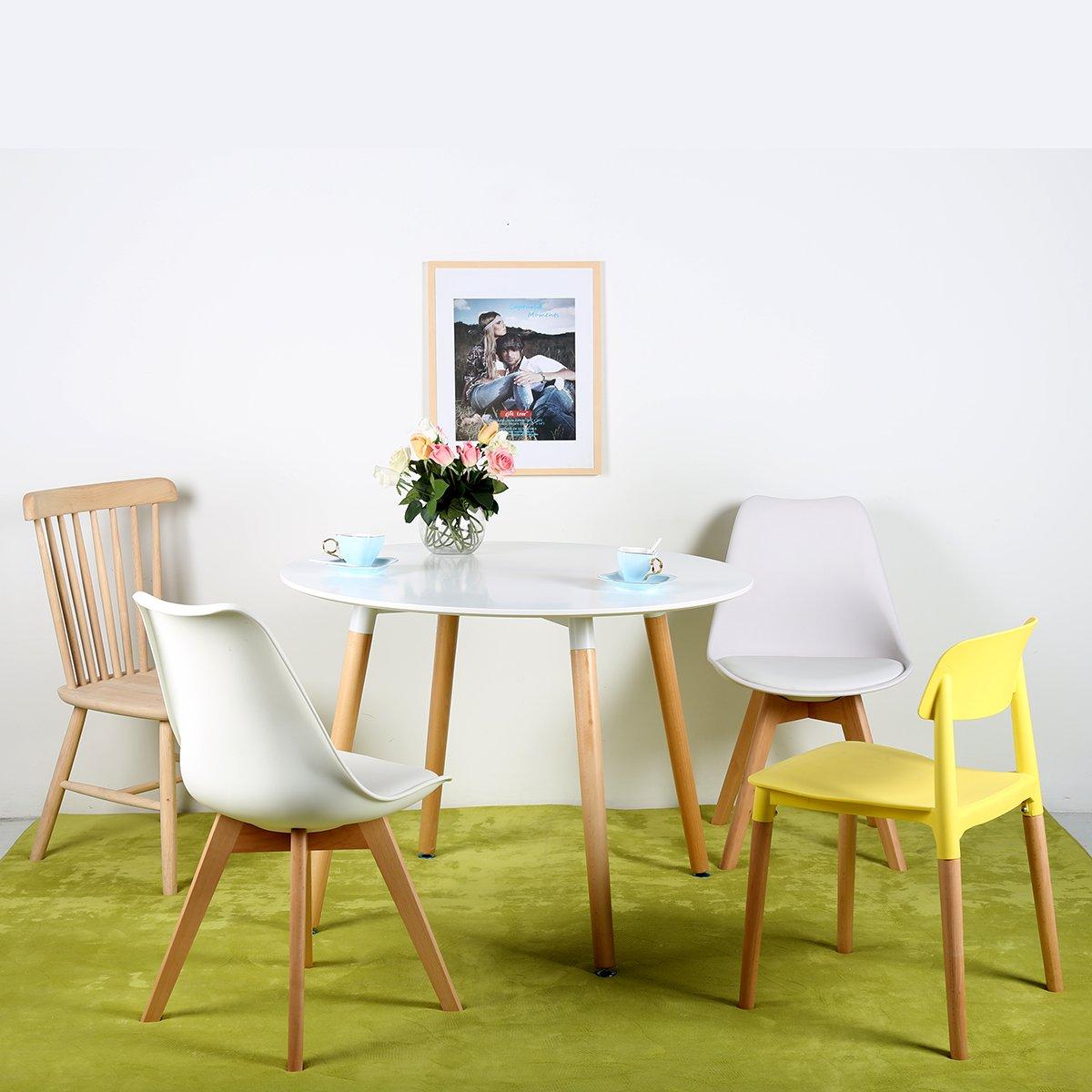 4er esszimmerst hle mit massivholz buche bein retro design gepolsterter stuhle ebay - Stuhle retro design ...