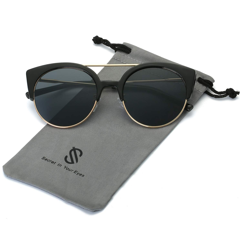 SOJOS Womens Retro Vintage Half Metal Frame Cateye Sunglasses SJ2035 with Black Frame/Grey Lens by SOJOS