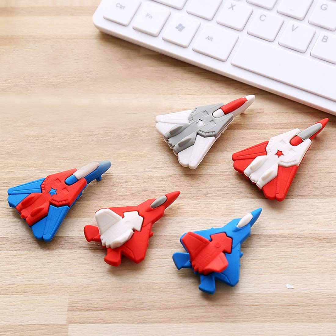 Your only family Durable Cute Cartoon Flat Shape Colorful Airplane Rubber Pencil Eraser School Supplies Children Creative Stationery, Size : 52x35mm Practical