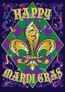 "Toland Home Garden 1112282 Mardi Gras Confetti 12.5 x 18 Inch Decorative, (12.5"" x 18""), Double Sided Garden Flag"