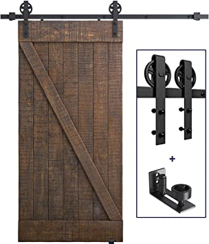 6.6 FT Heavy Duty Sturdy Sliding Barn Door Hardware Kit Barn Door Bottom Adjustable Floor Guide Roller