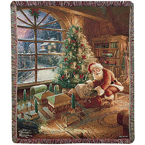 Santa's Special Delivery Lionel Train Woven Tapestry Throw By Thomas Kinkade - Thomas Kinkade Trains