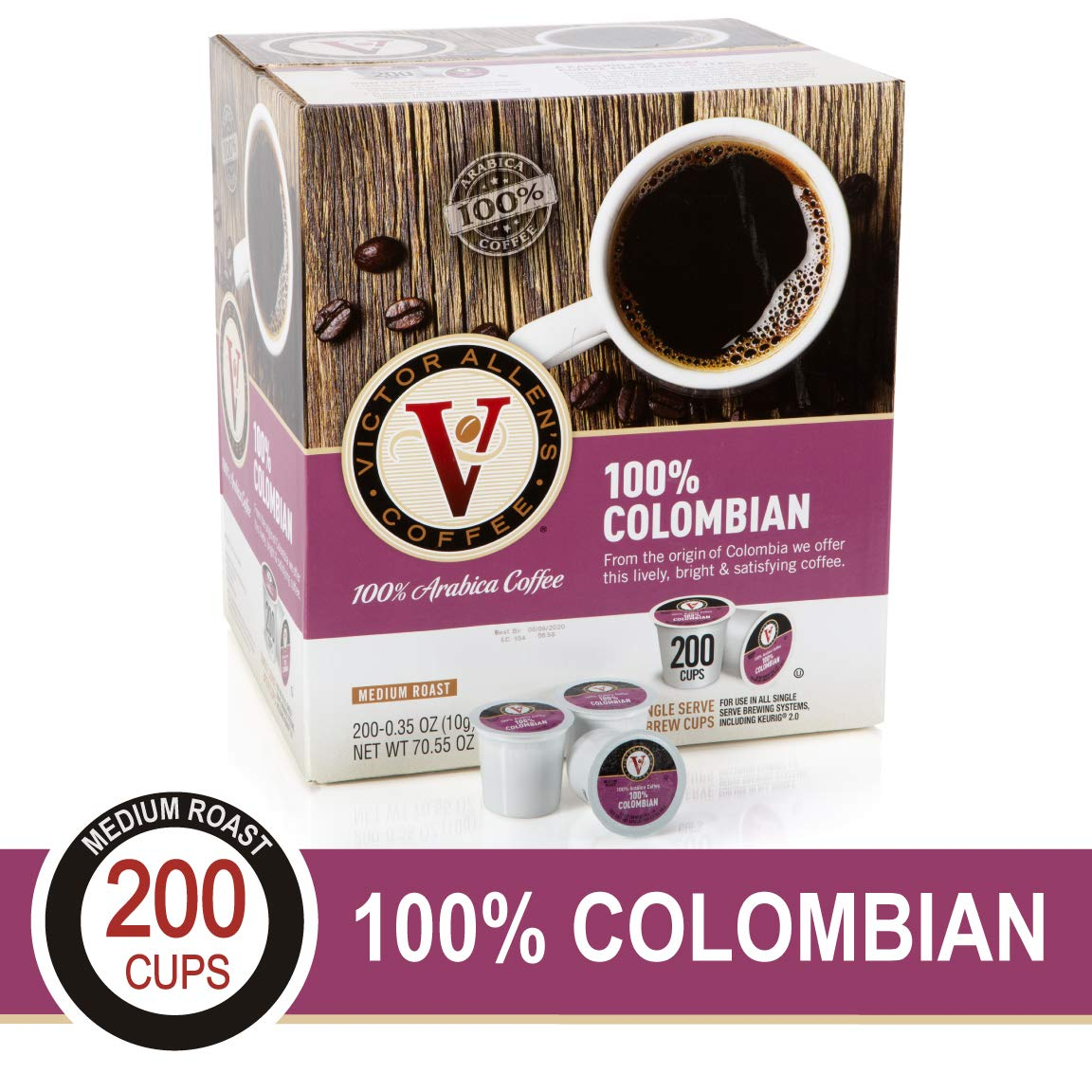 100% Colombian for K-Cup Keurig 2.0 Brewers, 200 Count Victor Allen's Coffee Medium Roast Single Serve Coffee Pods by Victor Allen