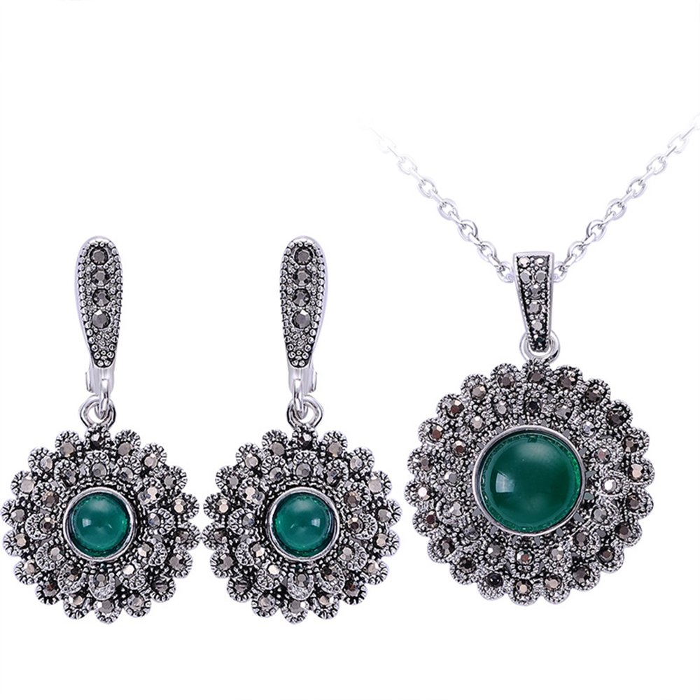 Yfnfxl Vintage Silver Crystal Cocktail Necklace Earrings Fashion Jewelry Sets (Green 3)