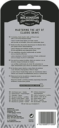 Wilkinson Sword Classic Cutthroat - Kit de Navaja Clásica de Afeitar de Barbero + 5 Hojas de Recambio, Afeitado Manual Profesional para Hombre