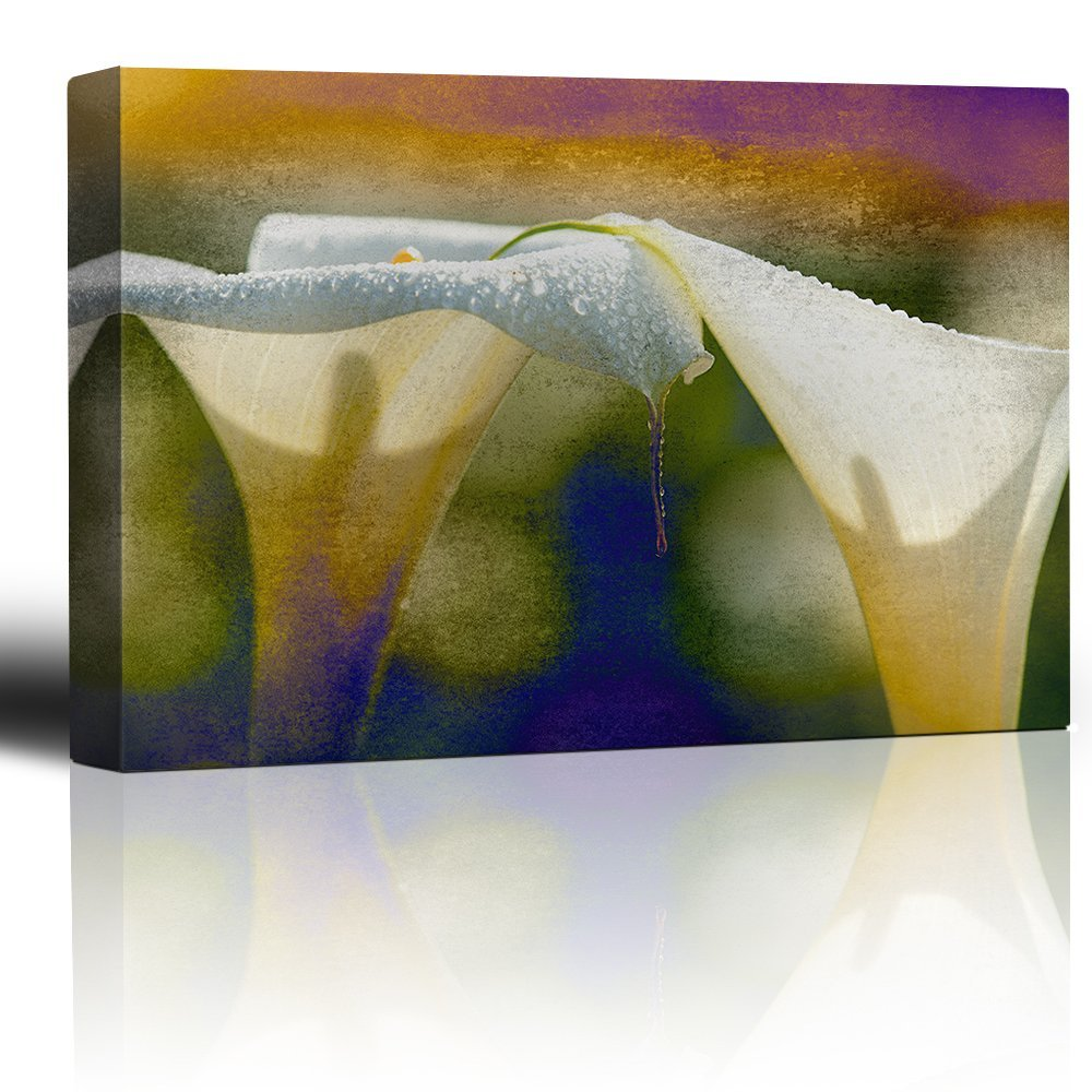 wall26 - Cala Lilies on a Rainbow Watercolor Paint Background - Canvas Art Home Decor - 24x36 inches by wall26
