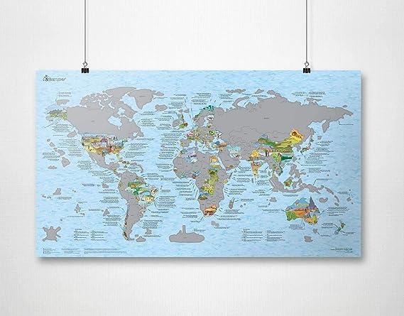 Travel Scratch Map by Awesome Maps - Mapa del mundo ilustrado para aventureros y exploradores - reescribible - 97.5 x 56 cm: Amazon.es: Oficina y papelería