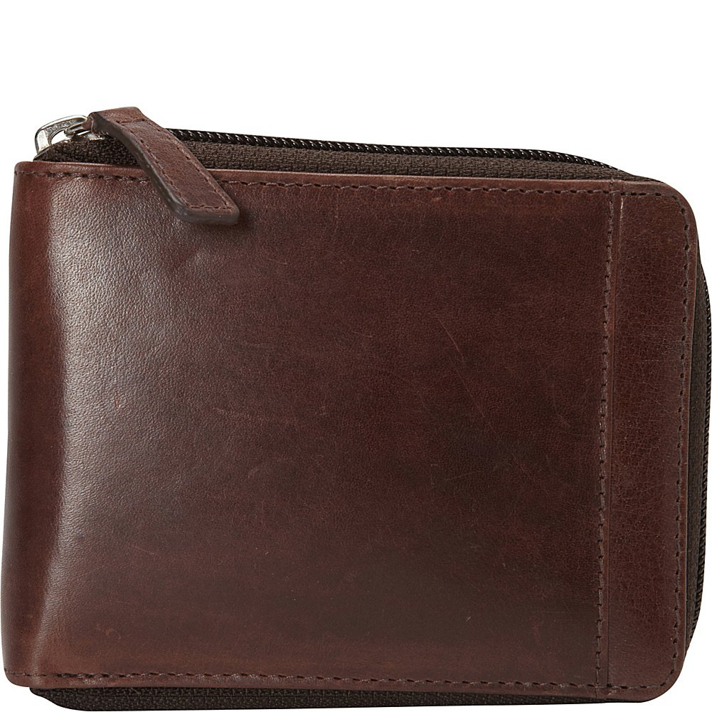 Mancini Rfid Secure Men's Zippered Wallet with Removable Passcase, Cognac, Under Seat Mancini CA 8700159-cog
