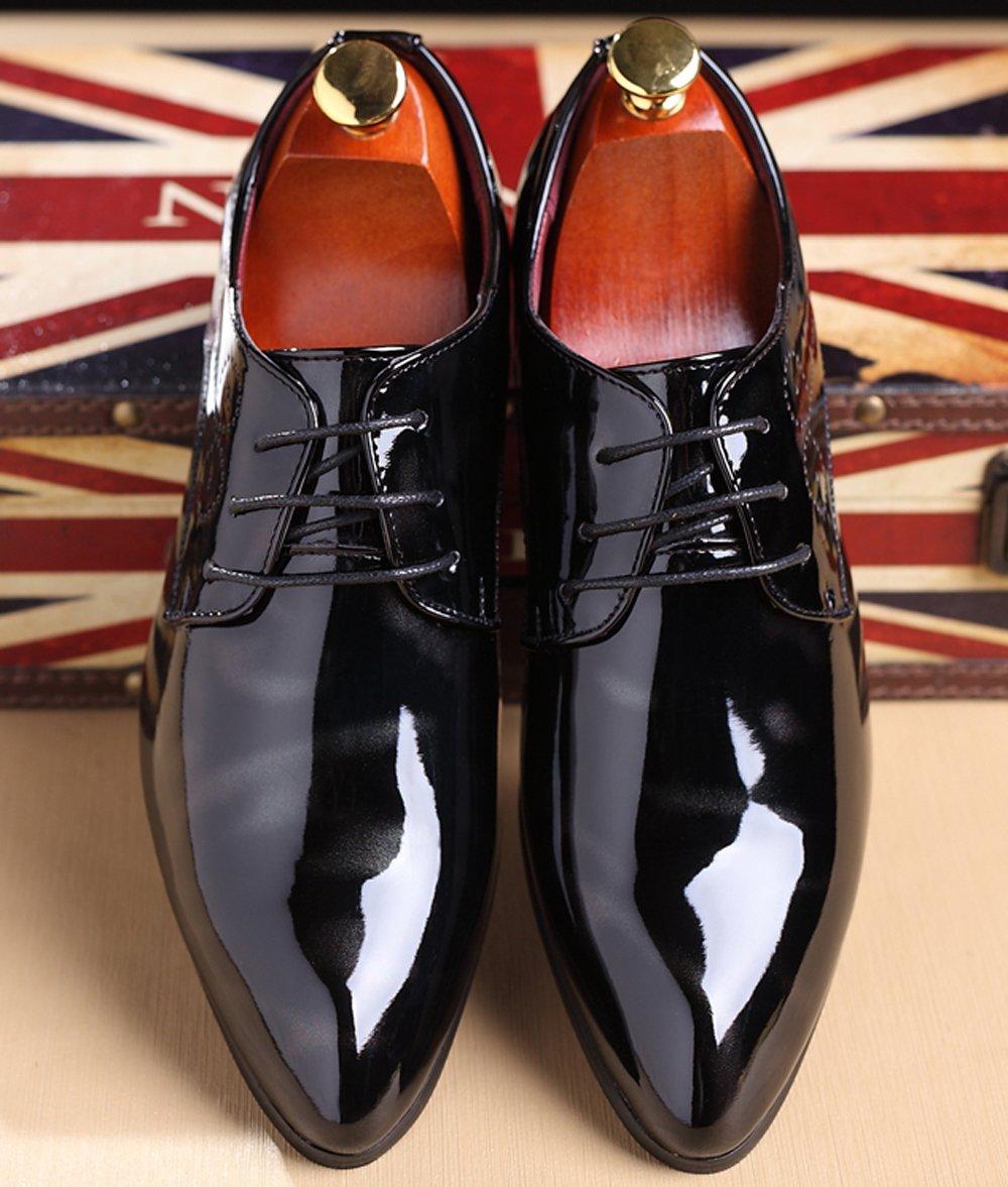133aca4b57de Santimon Black Dress Shoes for Men Pointed Toe Floral Patent Leather Lace  up Oxford Black 5. Yêu thích