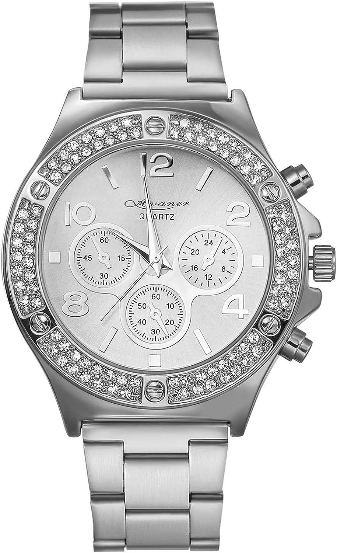 Reloj Hombre Cuarzo Reloj Pulsera Pulsera Inoxidable Reloj Diamante coration Tres Ojos Reloj Reloj Hombre Pas etanche Dorado Plateado Oro Rosa Avaner