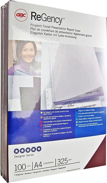 GBC CE030032 -Pack de 100 portadas encuadernación Regency A4, color burdeos: Amazon.es: Oficina y papelería