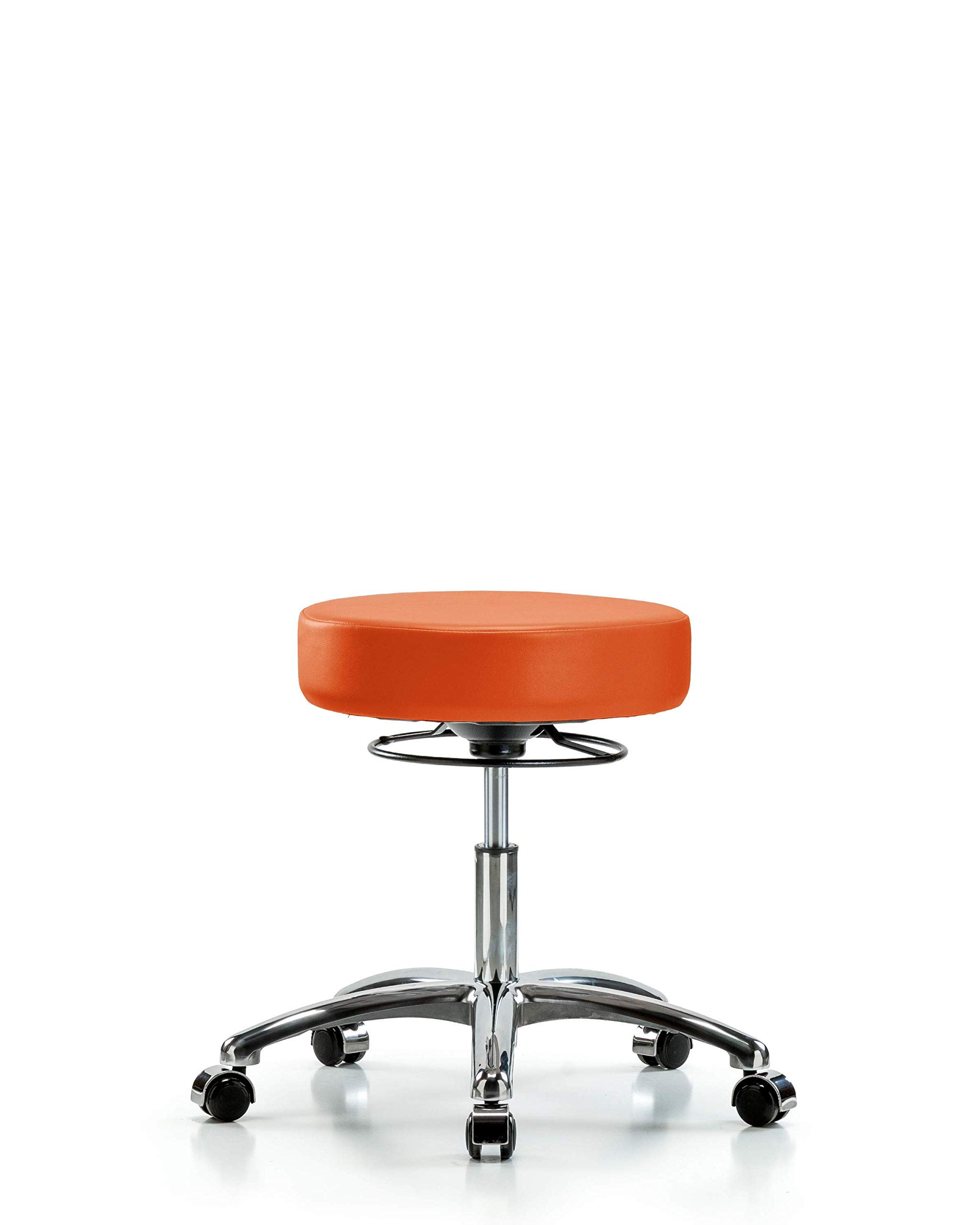 Adjustable Stool for Exam Rooms, Labs, and Dentists with Wheels - Chrome, Desk Height, Orange