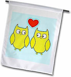 3dRose fl_56323_1 Owls in Love Bird Art Animals Garden Flag, 12 by 18-Inch