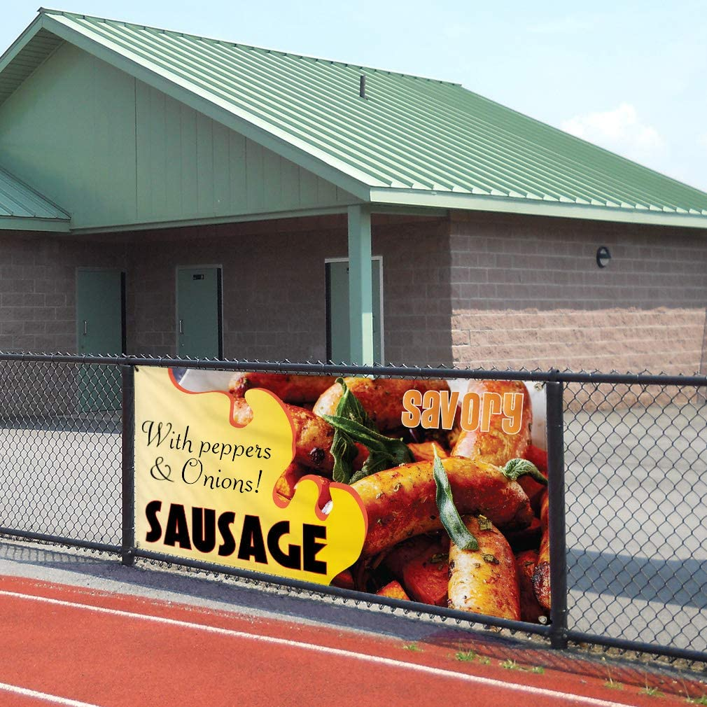 Sausage Marketing Advertising Brown 6 Grommets Vinyl Banner Sign Savory with Peppers /& Onions Set of 2 32inx80in Multiple Sizes Available