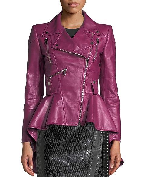 Amazon.com: Splenor - Chaqueta de cuero para mujer: Clothing