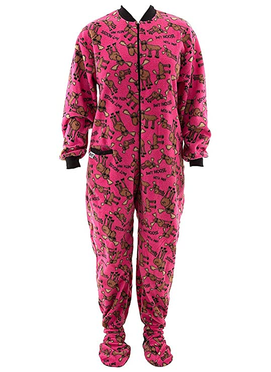 Lazy One Don't Moose With Me Pink Footie PJs for Adults