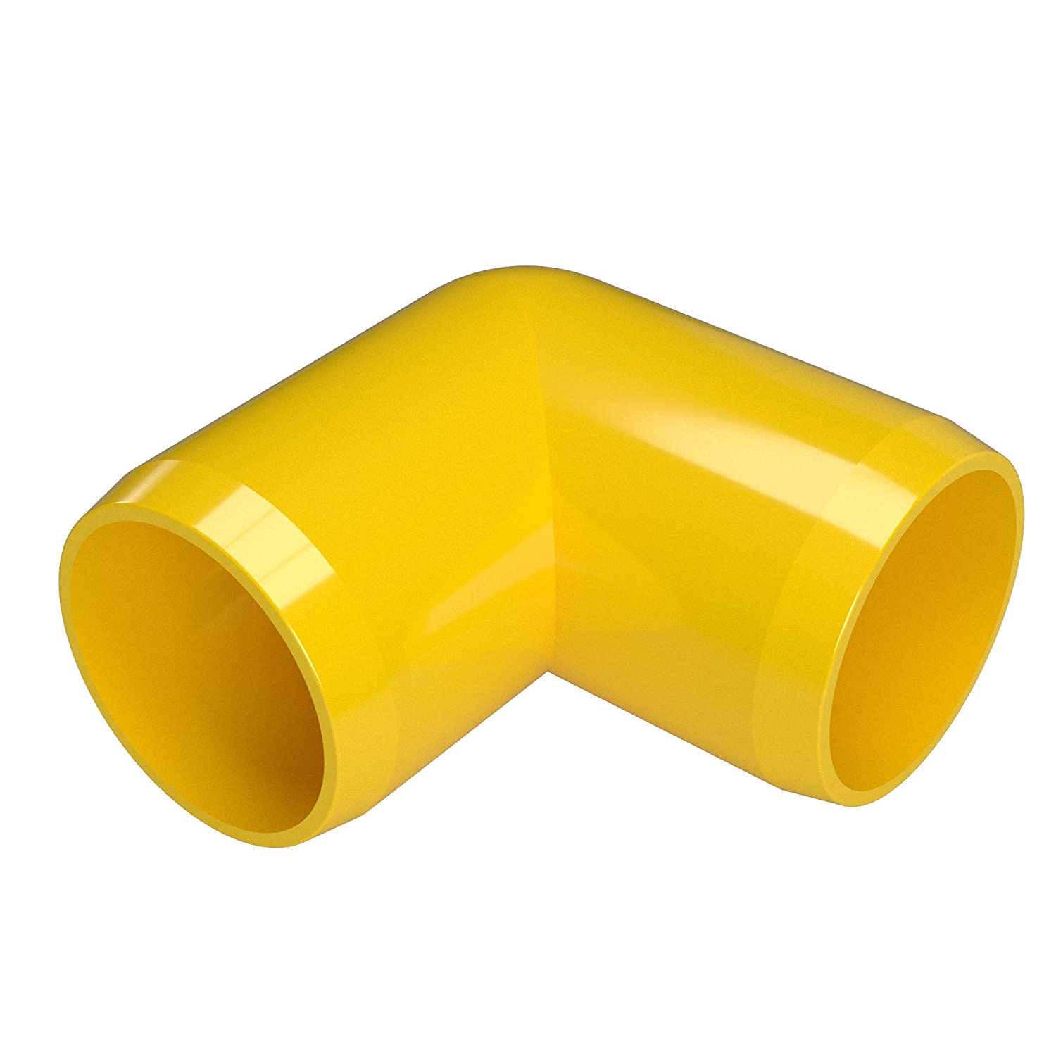FORMUFIT F00190E-YE-4 90 Degree Elbow PVC Fitting, Furniture Grade, 1' Size, Yellow (Pack of 4) 1 Size