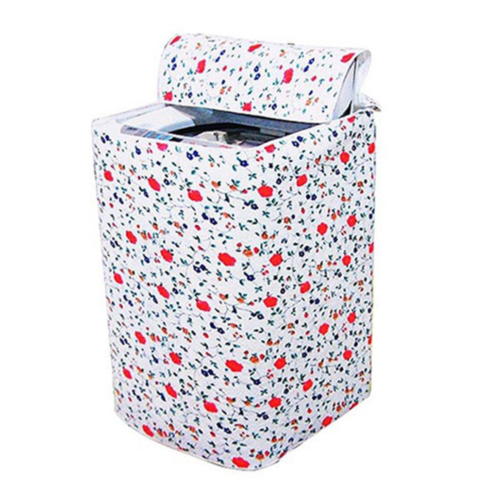 Funda para lavadora con cremallera gruesa dise/ño de flores Tama/ño libre For Drum Washing Machine impermeable protecci/ón frontal superior