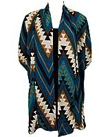 Blue Pearl World Women's Colorful Aztec Print Long Cardigan Sweater