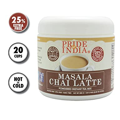Pride Of India latte chai masala en polvo premezcla té instantáneo, 8,82 oz
