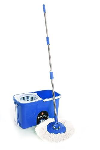 7. Bathla Ultra Clean 360 - Premium Microfiber Spin Mop with Trolley Wheels (Blue)