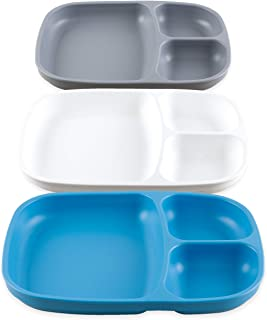product image for Re-Play Made in USA - 3pk Deep Divided Heavy Duty Dining Plates with 3 Compartments for All Ages - Sky, White, Grey(Modern Blue) Eco Friendly Recycled HDPE - Virtually Indestructible!