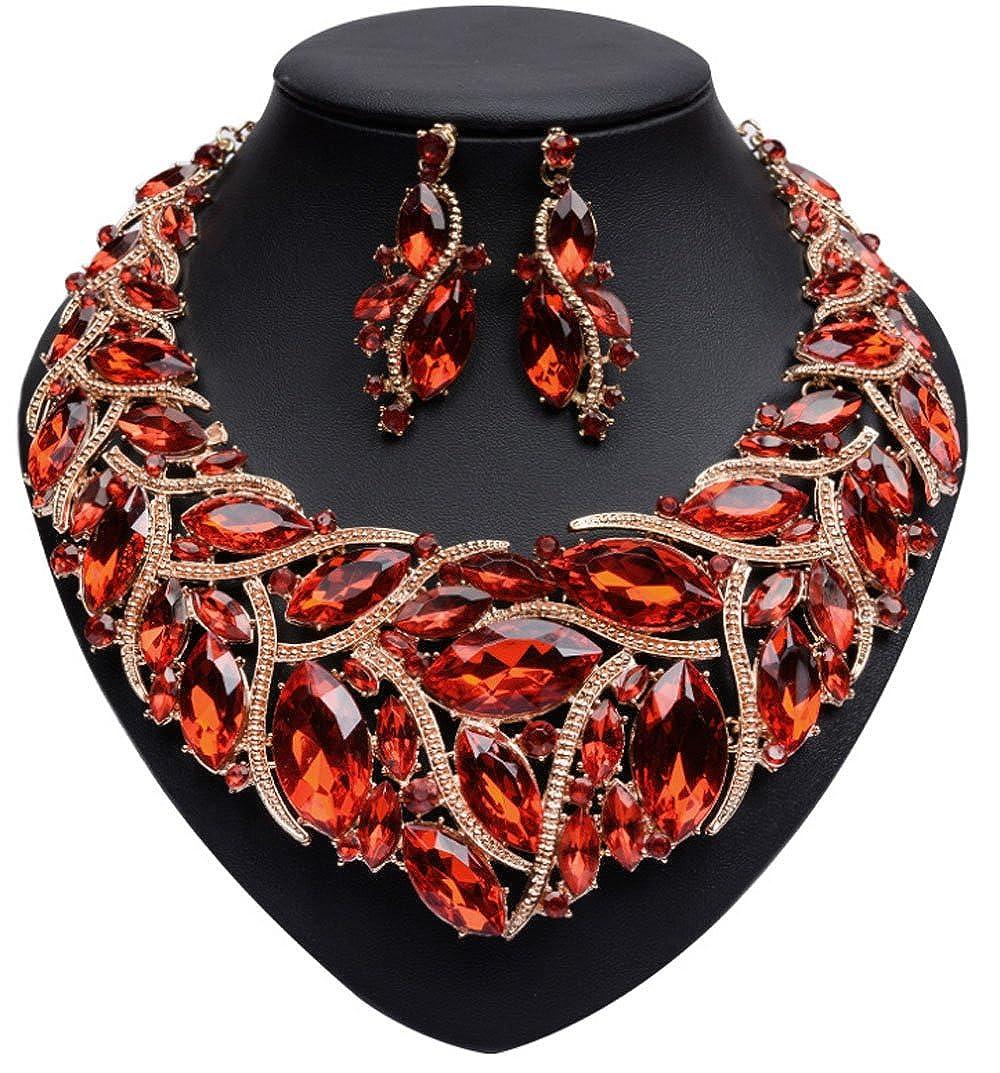 Shineland Big Luxury Atmosphere Crystal Stone Alloy Short Necklace Earring Set For Women