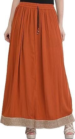 Exotic India - Falda larga elástica con borde dorado - Naranja ...