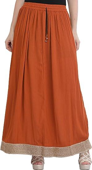 Exotic India Falda Larga elástica Lisa con Borde Dorado - Naranja ...