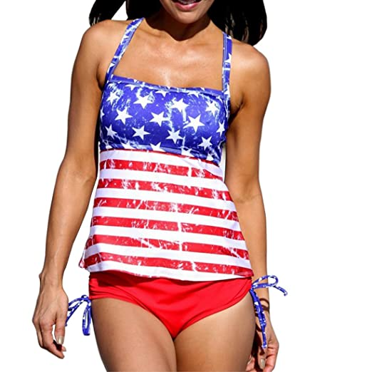 e401392a22 Elatany Women s Plus Size Patriotic National Flag Pattern Two Piece Halter  Swimsuit With Padded Cups Size