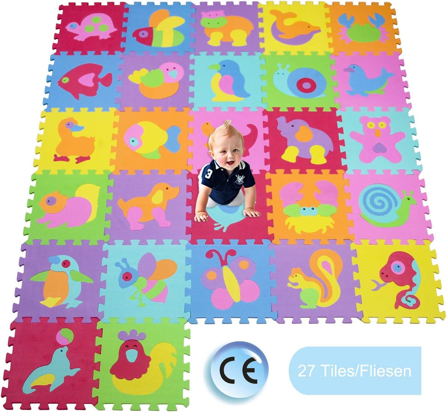 XMTMTD Alfombra Puzle Niños Colchoneta Suave niños Puzzle Play Mat Colorido Suave no tóxico Jigsaw Espuma baldosas de Piso y Juguetes Estera Juego Puzzle para Bebé EVA AMT101419G300927